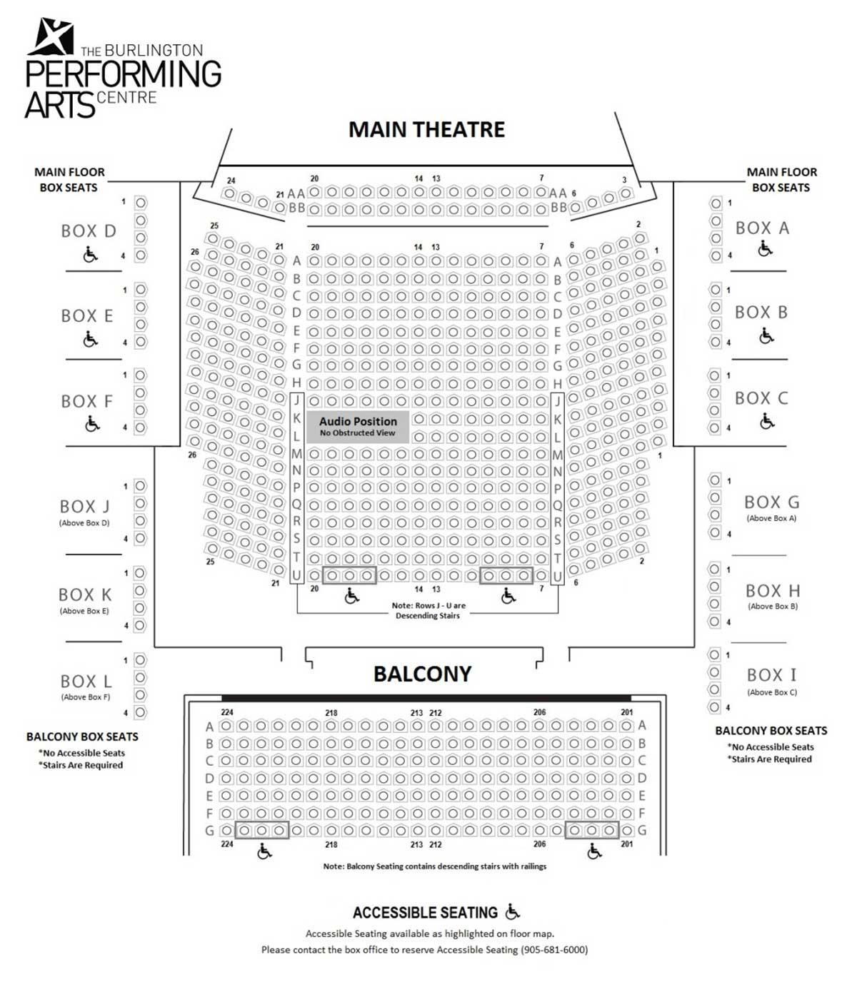 Seating Chart Floor Plan Burlington Performing Arts Centre